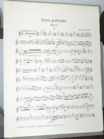 Bartok B - Two Portraits Op 5 Oboe 1 Part
